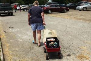 Women returning from a local food shelter.