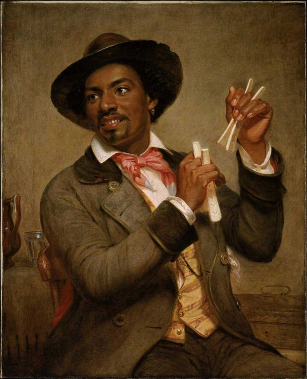 Painting by William Sidney Mount finished in 1856 depicting an African American musician playing a historically typical minstrel instrument.