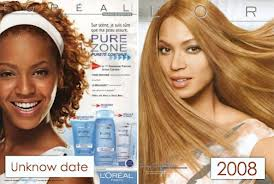 Advertisements featuring an African American women... And the difference in the lightness of her skin
