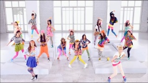 "The E-Girls during their ""Follow Me"" Music video in 2012"