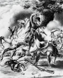 Print depicting the death of Tecumseh, a famous Native American leader.