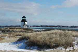 Nantucket lightly dusted with snow during the quiet winter.