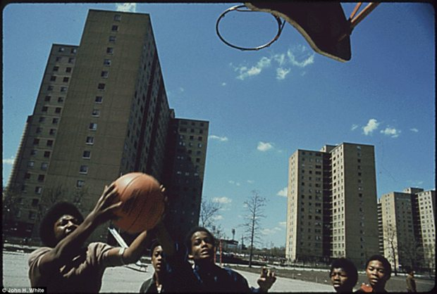 Youth play in Chicago's Stateway Gardens high-rising projects in 1973