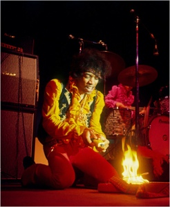 """JImi Hendrix Burns his Guitar"" by JIm Marshall"