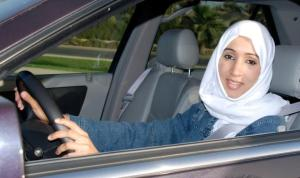 Manal al Sharif behind the wheel