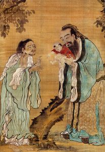 """Confucius presenting the young Gautama Buddha to Laozi."" This is a picture of Confucius himself, but it represents the importance of mentors and father figures."