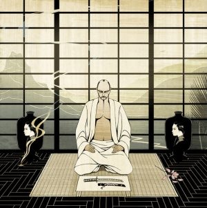 Artwork of a Samurai warrior contemplating self-disembowlment (Seppuku). Art by Nick Purser