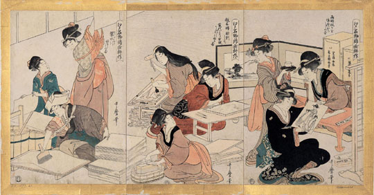 Edo beauties: 'The Cultivation of Polychrome Prints, a Famous Edo Period Product'.