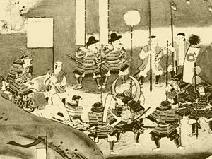 A 17th century painting of Hideyoshi and Nobunaga at the Nagashino battle camp.