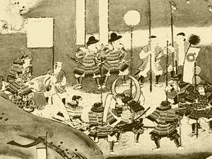 A 17th century painting of Hideyoshi and Nobunaga at the Nagashino battle camp.