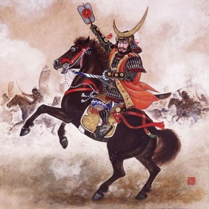 Japanese illustration of a samurai warrior.