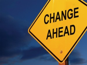 "This image depicts a road sign indicating ""CHANGE AHEAD."""