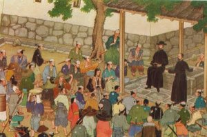 Christian missionaries in feudal Japan preaching to the Japanese people.