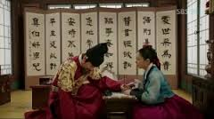 King Sejong and So Yi working on the alphabet