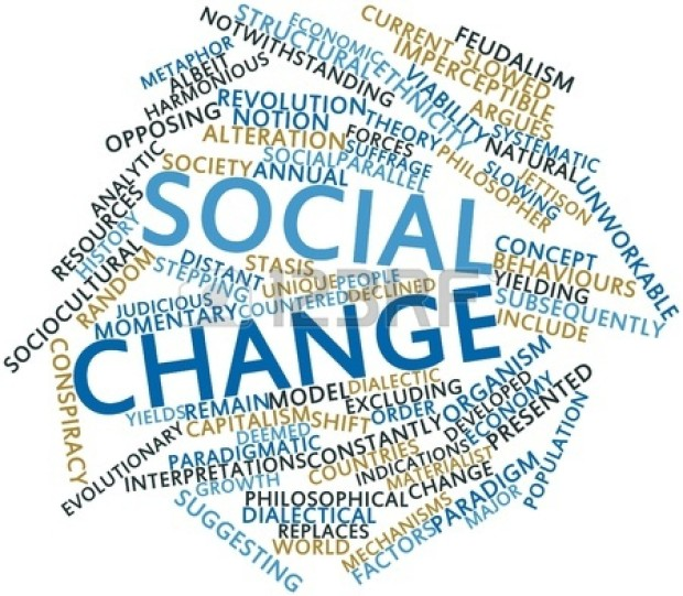 This image is a word cloud featuring the most popular words and phrases that are associated with social change.