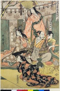 A depiction of Hideyoshi with his wife.